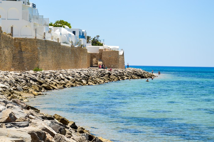 Coast line of Hammamet in Tunisia